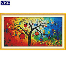 NKF The Money Tree Stamped Cross Stitch Pattern DIY Kit Needlework Embroidery Sets Chinese Cross Stitch for Home Decor(China)