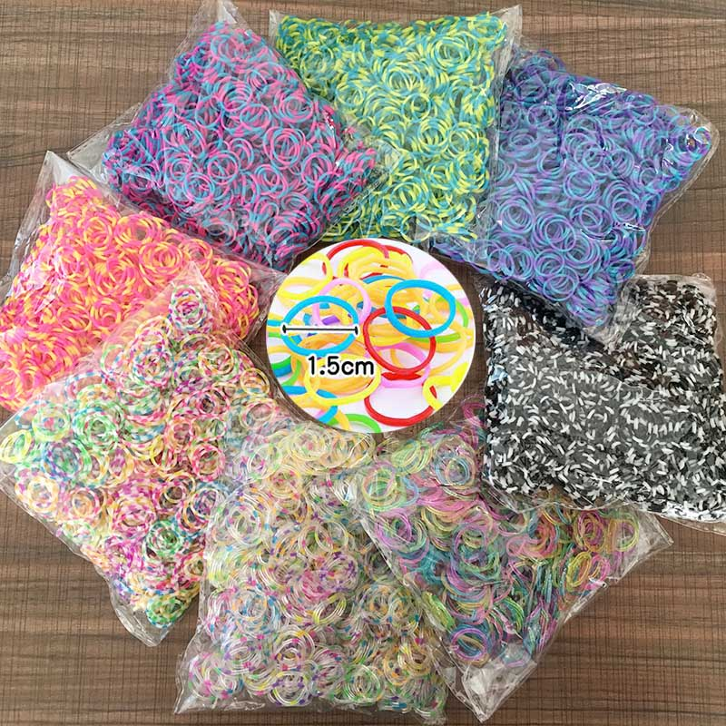 1000PCS Rainbow Braided Rubber Bands Refill DIY Bracelet Rubber Colorful Elastic Rubber Brightest and strongest bands available
