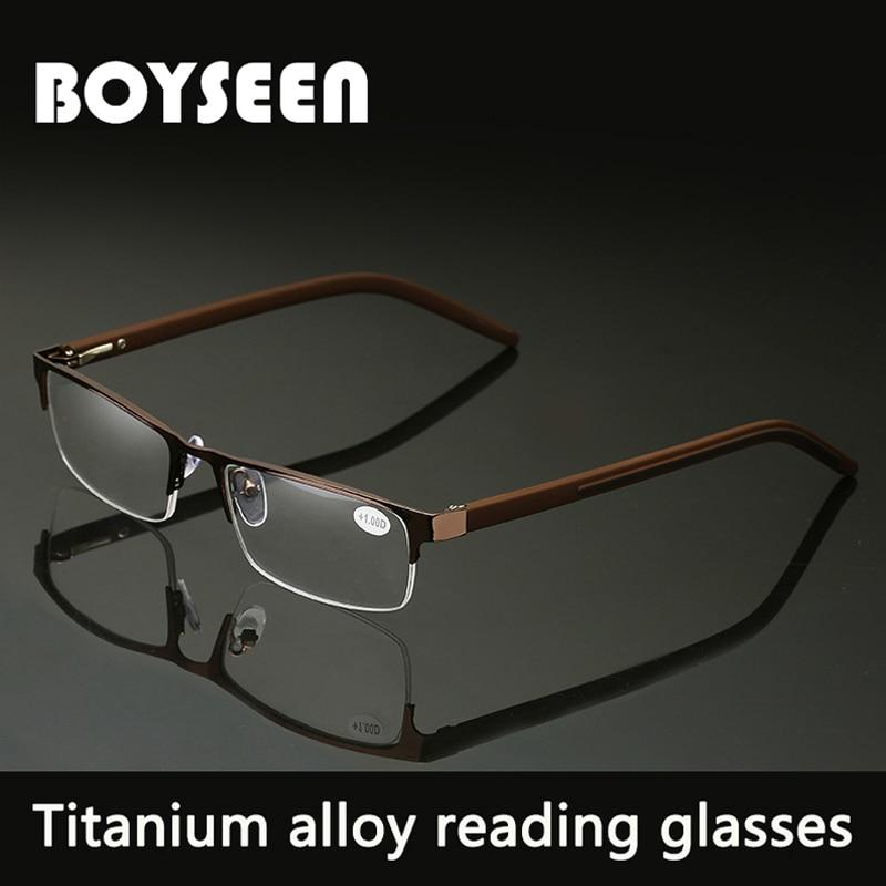 BOYSEEN Для мужчин Титан сплава очки для чтения не сферические 12 Слои линзы с покрытием Ретро Бизнес дальнозоркости рецепта
