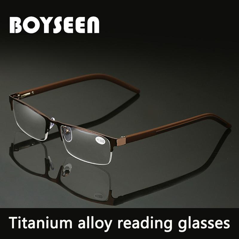 BOYSEEN Men Titanium alloy Reading Glasses Non spherical 12 Layer Coated lenses Retro Business Hyperopia Prescription Eyeglasses