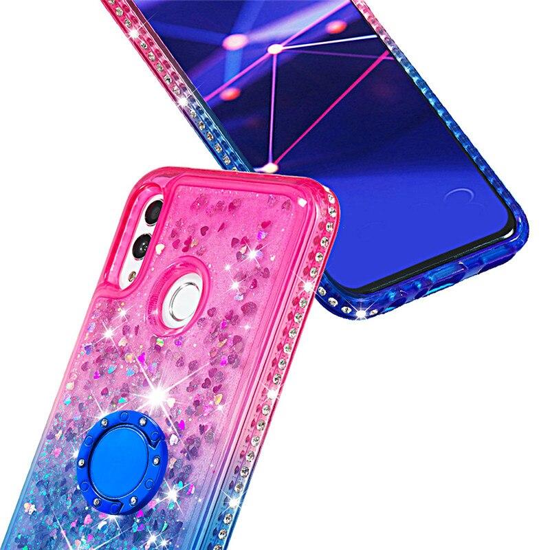 Fundas de arenas movedizas líquidas de diamantes brillantes para Huawei Mate 20 pro Mate 20 lite anillo titular gradiente trasero Coque para Huawei honor10 lite - 2