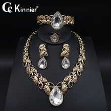 African Dubai Wedding Jewelry Sets white crystal gold-color jewelry sets women earrings bracelet necklace bridal Jewelry Sets недорого