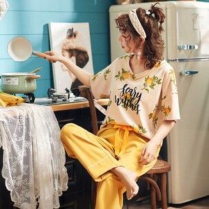 Image 2 - جديد الصيف منامة النساء 100% القطن منامة مجموعة قصيرة بلوزات + السراويل الطويلة ملابس خاصة الأزهار الخامس الرقبة كبيرة الحجم M XXL السيدات ملابس نوم