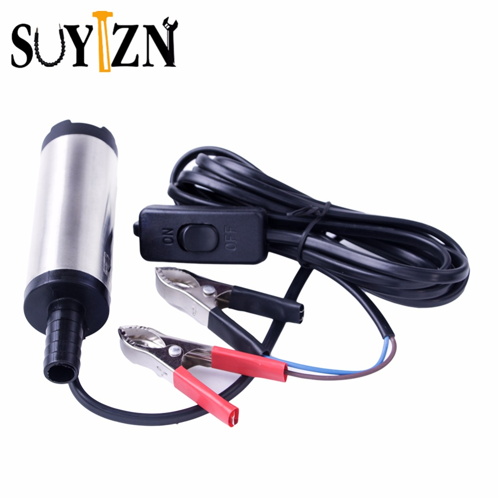 DC 12V Oil Pump Diameter 3.8CM Portable Submersible Diesel Fuel Water Oil Pump On/Off Switch Car Camping Portable Water Pump Z98