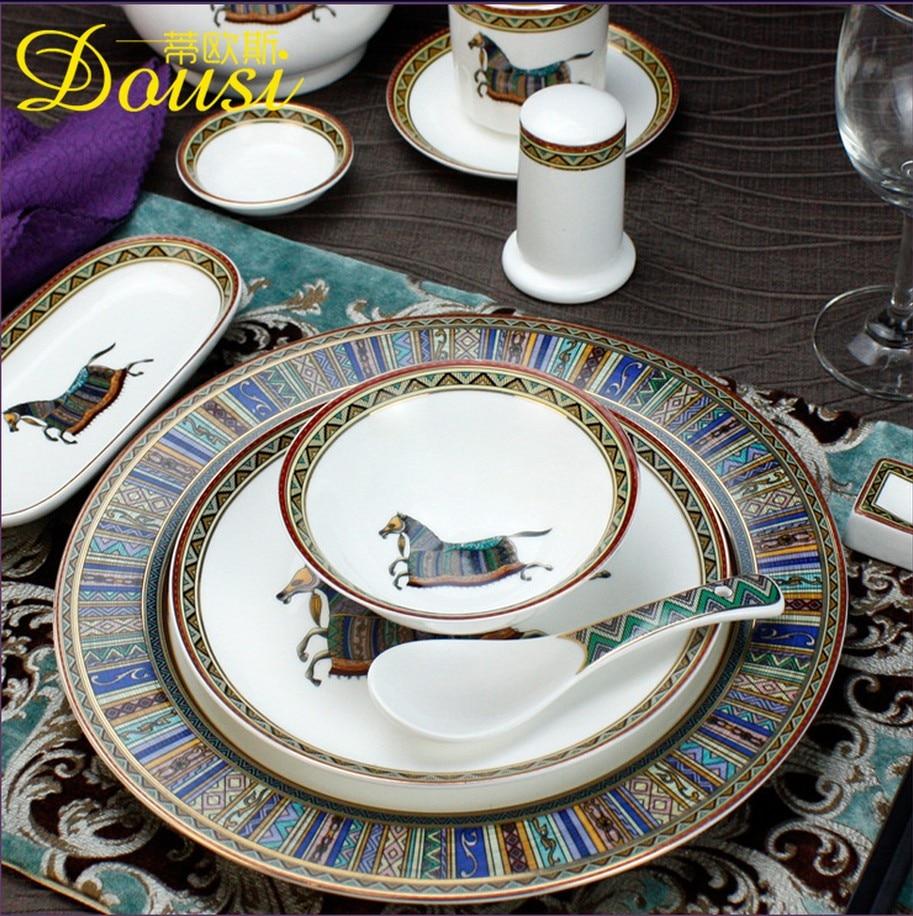Vintage Fashion Ceramic China Horse Series Dinnerware Sets Chaozhou Handmade Glaze Anti High Temperature Baking