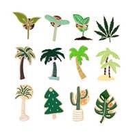 Broche con diseño de planta para hombre y mujer, alfileres esmaltados de Cactus verde, hoja de arce, árbol de coco, sombrero, solapas, joyería