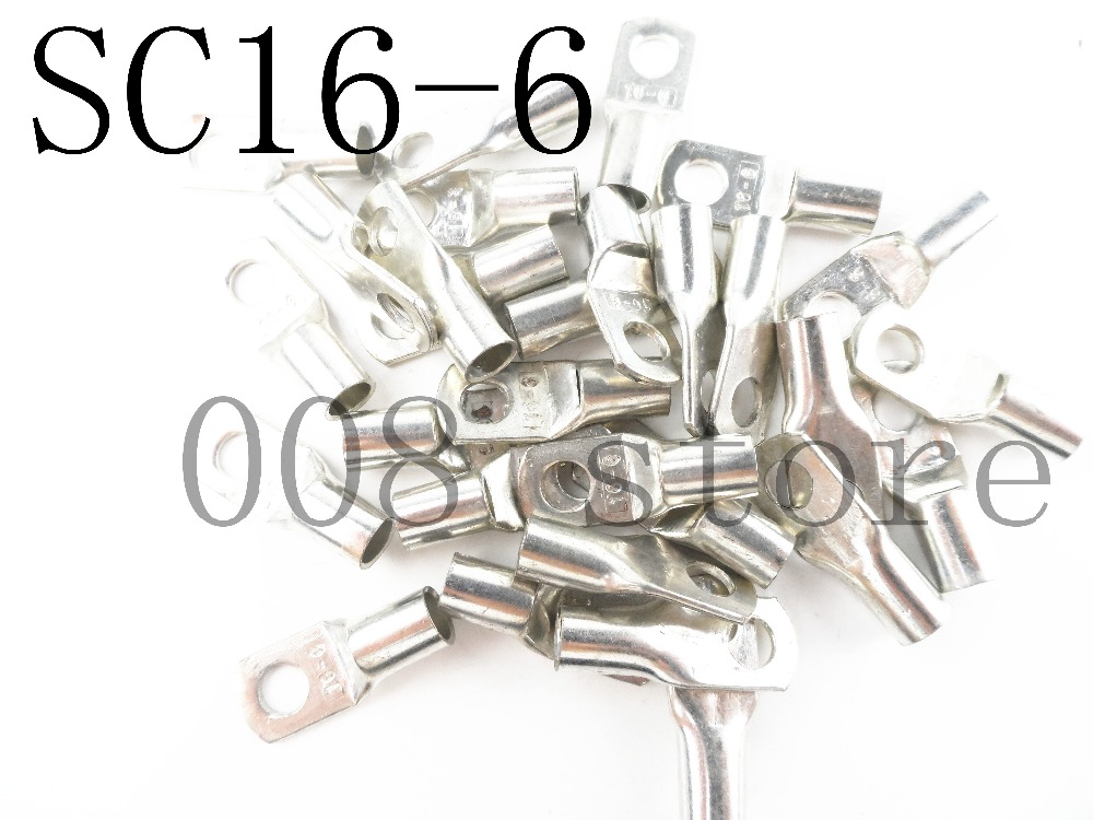 10PCS SC16-6 Tined copper connecting terminabolt hole cable lugs battery terminals 16mm square wire raptor r5bt2nsn battery terminals platinum battery terminals negative