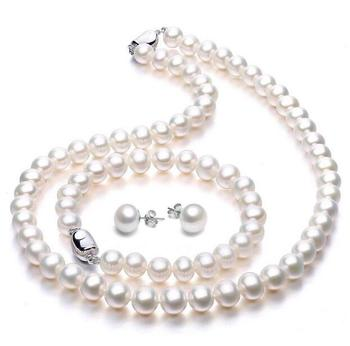 "Charming 9-10 mm natural white pearl necklace 18"" bracelet earrings sets"