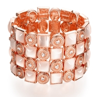 Rose Jewelry Brand Top Quality AAA Czech Diamond Cuff Bracelets Bangles For Women Girls Rose Gold