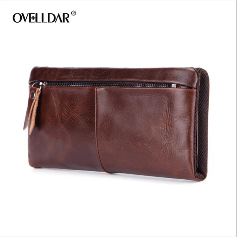 Brand New Men Wallets Hasp Zipper Vintage Genuine Leather Clutch Wallets Male Purses Large Capacity Men's Wallet Free Shipping