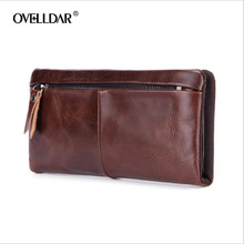 Brand New Men Wallets Hasp Zipper Vintage Genuine Leather Clutch Wallets Male Purses Large Capacity Mens Wallet Free Shipping