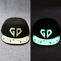 Fashion GD Letter Luminous Hollowed Out Acrylic Male Rivet Hiphop Baseball Caps With Black Poly Adjustable