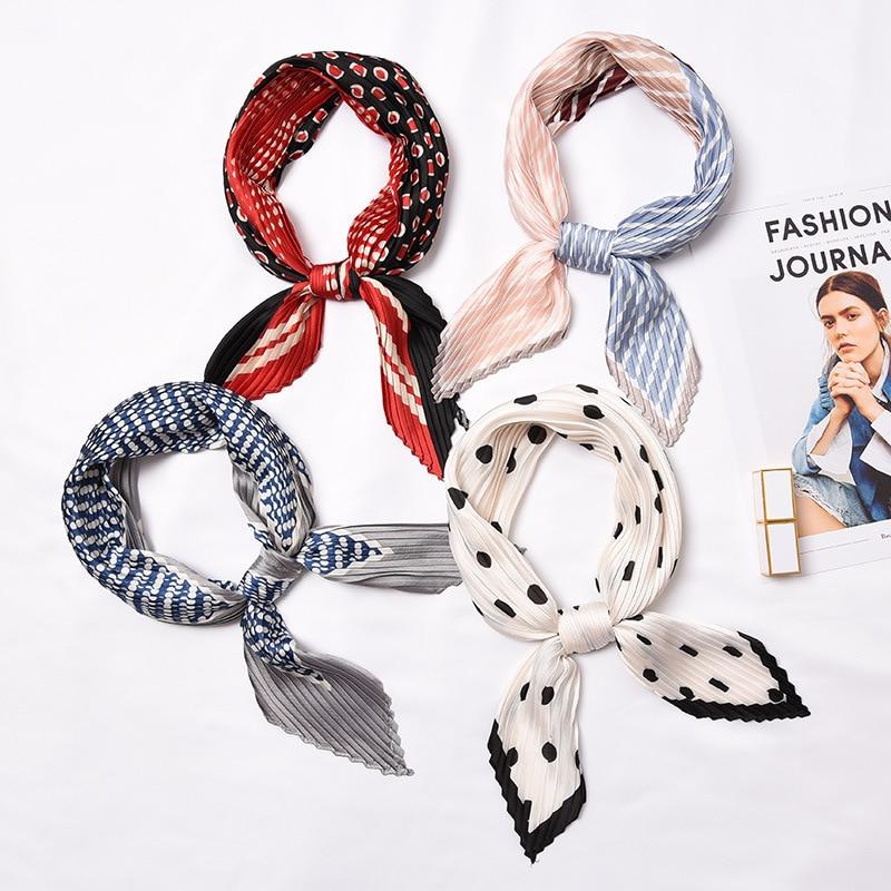 Pleated Silk Headscarf Print Foulard Versatile Wrinkle Scarf Exquisite Fashion Decorative Headscarf Size55*55cm