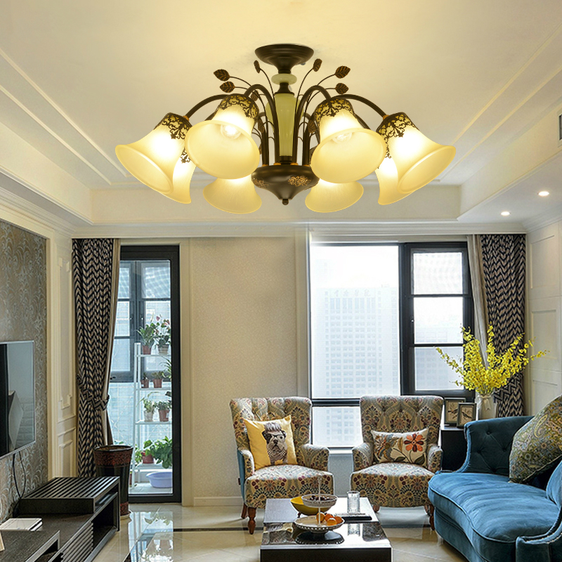 American Retro chandelier ceiling living room suspended lamps dining room fixtures Nordic LED lighting bedroom hanging