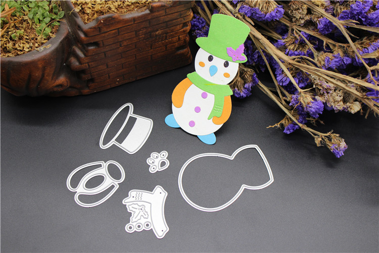 AZSG Cute snowman Cutting Dies Clear Stamps For DIY Scrapbooking Card Making Decorative Silicone Stamp Crafts in Cutting Dies from Home Garden