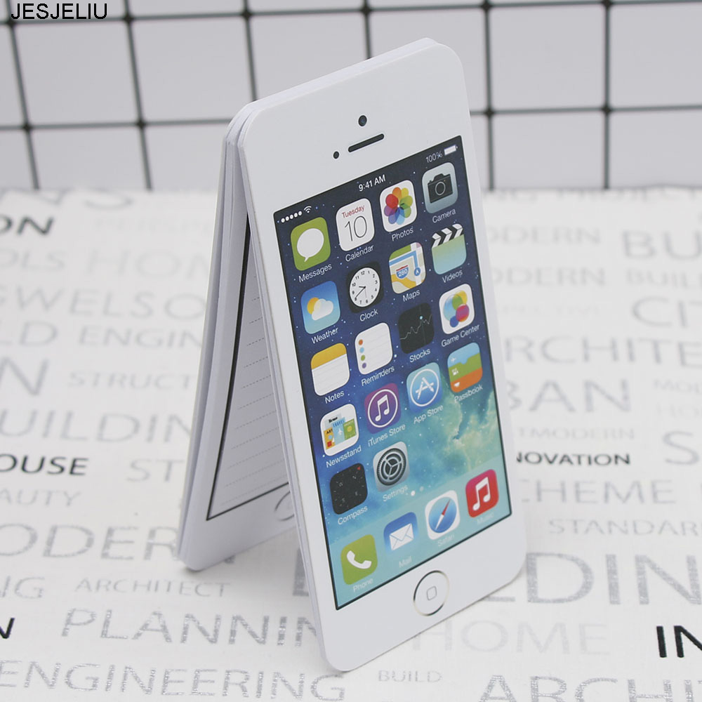1 Pcs Creative White Fashion Sticky  Note Paper Cell Phone Shaped Memo Pad Memo Pads Paper Note Pad Diy For Iphone 5 unique creative apple shaped memo pad large about 120 page