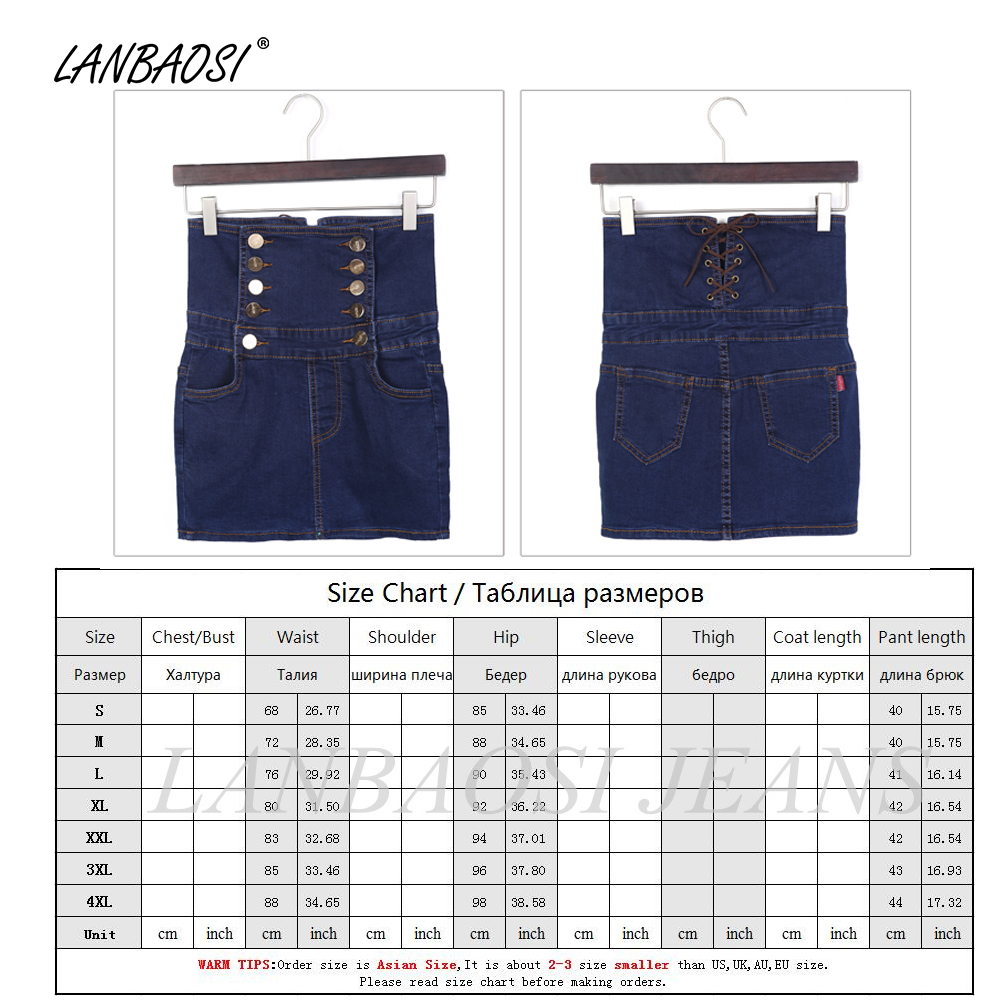 765bdc5b29 LANBAOSI Blue Denim Skirt for Women Package Hip Jeans Skirt High Waist  Cowboy Pencil Skirts Female Girl Casual Slim Mini Vintage-in Skirts from  Women's ...