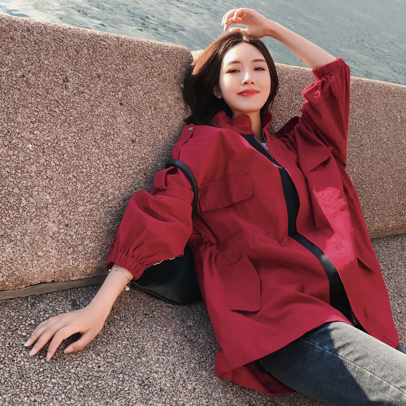 2019 Casual red wine BF Windbreaker female Autumn Outerwear Women's Spring Standing collar   Trench   Coats N805