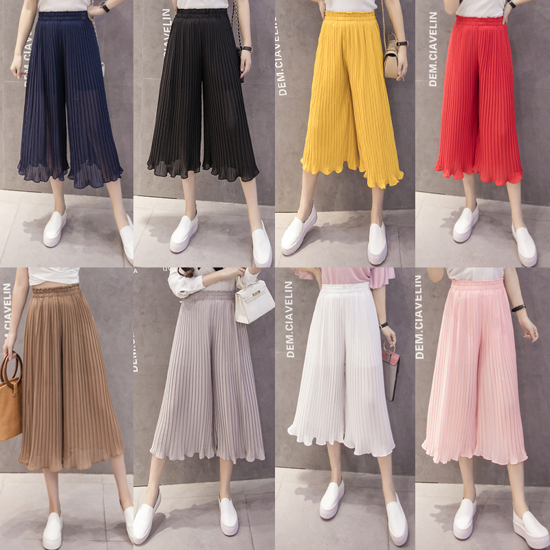 Women Wide Leg Chiffon Pants High Waist Solid Ruffles Trousers Elastic Waist Long Culottes Calf-Length Pants Pleated Trousers