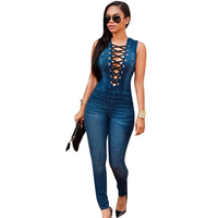 Casual Summer Women Party Slim Denim Jumpsuits Jeans Deep V Sleeveless Rompers Female Sexy Club Overalls