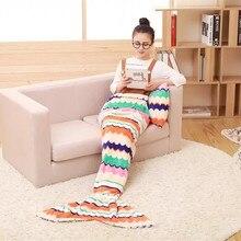 Soft Mermaid Tail Fleece Blanket Lap Throw Bed Wrap Fin Warm Cocoon Costume Cobertor Kids Adults Sleeping Bag Dormir 85*180cm