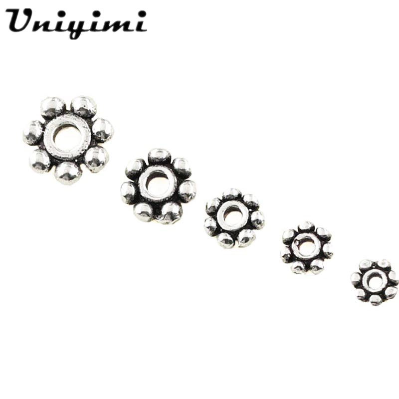 10Pcs/lot Tibetan Silver Daisy Spacer Beads 925 Sterling Silver Bead Spacer Geal Spacer Crafts DIY Jewellery Making Accessories ...