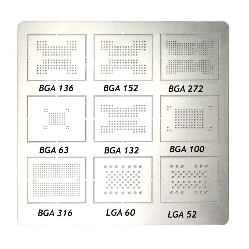 Jyrkior For 9 In1 BGA136 BGA152 BGA272 BGA63 BGA132 BGA100 BGA316 LGA60 LGA50 BGA Reballing Stencil Plant Tin Steel Net