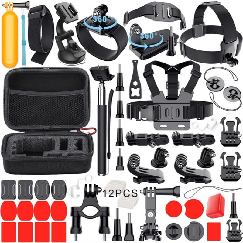 Jealiot for Gopro Accessories Set for go pro hero 6 5 4 3 kit 3 way selfie stick for Eken h8r / for xiaomi for yi EVA case VS77