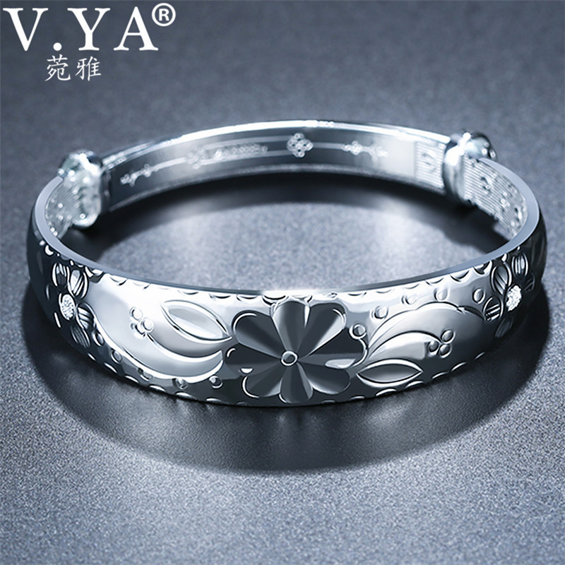 V.YA Adjustable Bracelet Bangle 999 Sterling Silver Jewelry Expandable Charm Bracelets Bangles for Women Lady Accessories 925 sterling silver expandable bracelet for women vintage lotus charm flowers engraved bracelets