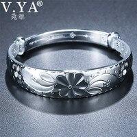 V.YA Adjustable Bracelet Bangle 999 Sterling Silver Jewelry Expandable Charm Bracelets Bangles for Women Lady Accessories