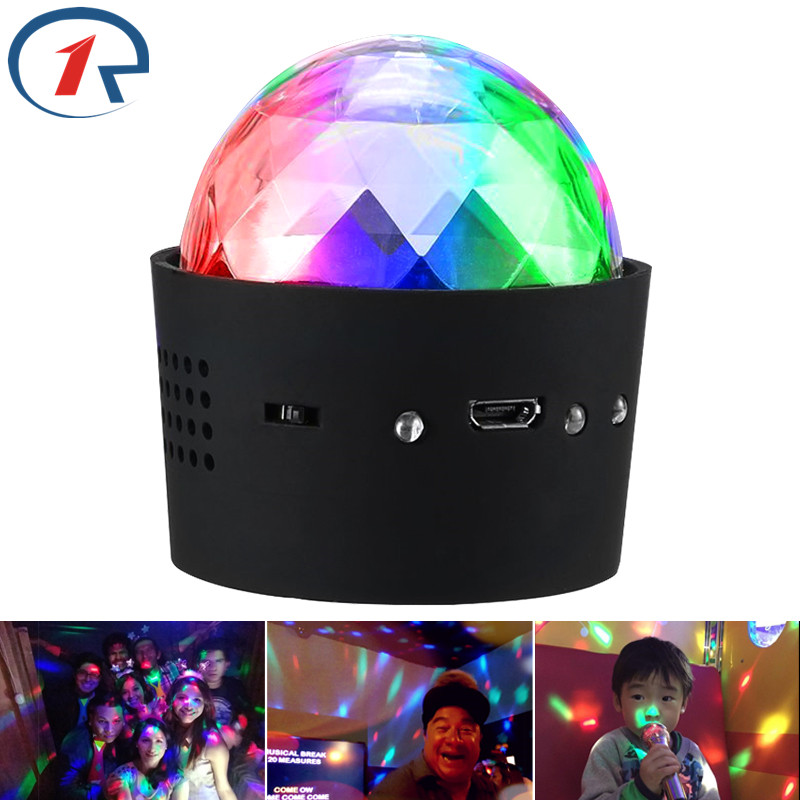 ZjRight USB 5V Built in battery music Sound control RGB LED party lights dj car ktv birthday Portable Christmas mini ball lights acrylic dj table on sale mix starter dj controller with built in sound card