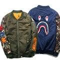 2016 winter Men Women Windproof cotton Parkas ma-1 KANYE WEST jacket and coats Flight Air Force bomber jacket shark jackets