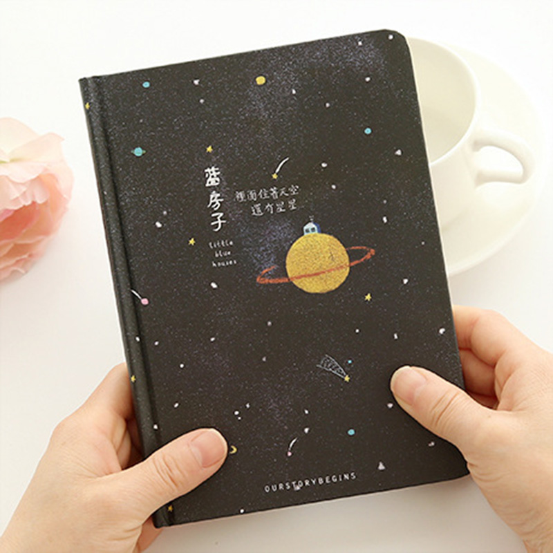 Creative Trend Color Pages A5 Notebook Little Blue House Diary Book Hardcover Diary Stationery School Supplies Black