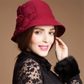 T116 Solid Color Womens Winter Wool Felt Flower Adjustable Cloche Hat