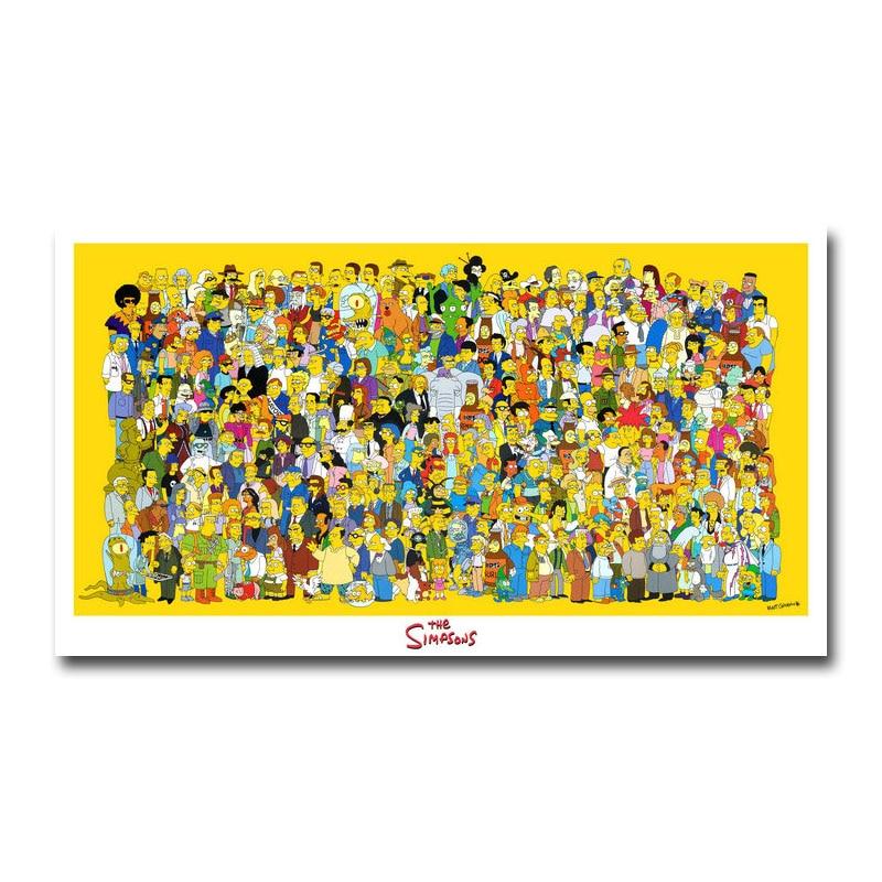 Искусство шелк или холст печать Симпсоны Фотофон 13x24 24 24x43 дюйма для украшения комнаты 002|Рисование и каллиграфия| | АлиЭкспресс