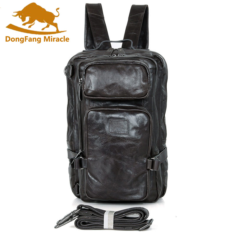 DongFang Miracle Guarantee Genuine Leather Multi-Compartment Design Vintage Rucksack Causal Large Capacity Travel Bag BackpackDongFang Miracle Guarantee Genuine Leather Multi-Compartment Design Vintage Rucksack Causal Large Capacity Travel Bag Backpack