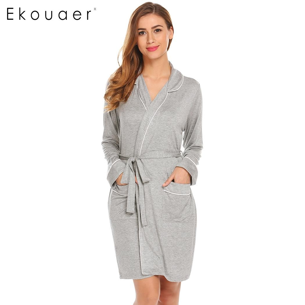 Ekouaer Vintage Women Robes Long Sleeve Kimono Style Belted Short Robes Sleepwear Wedding Bride Bridesmaid Robes Dressing Gown