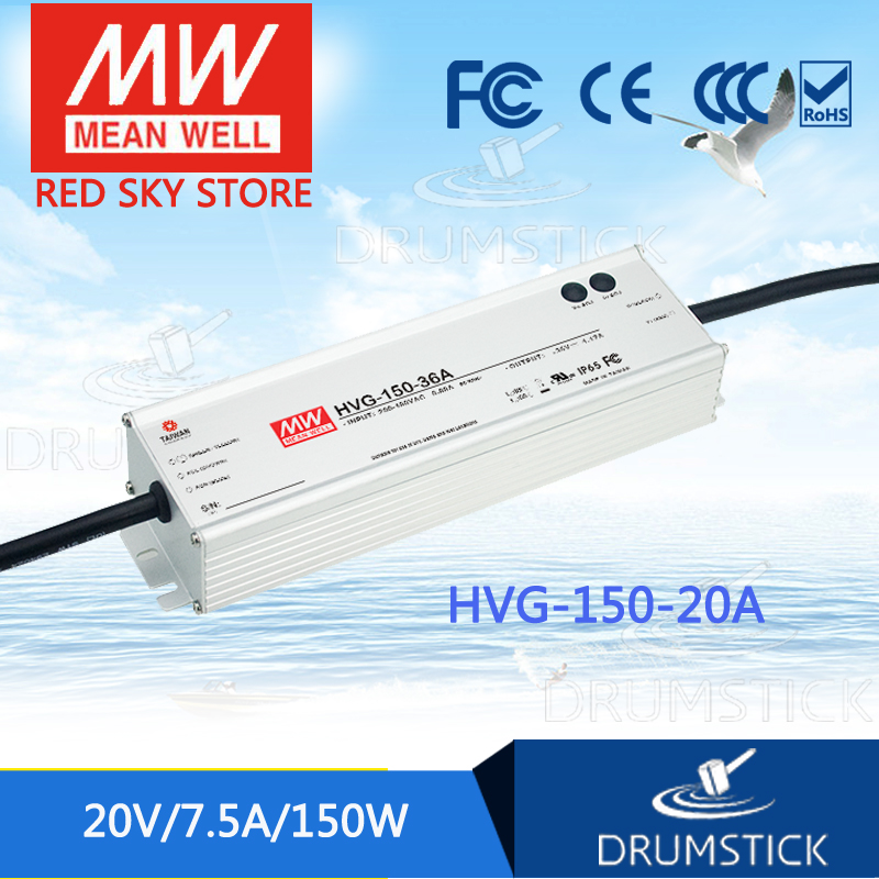 MEAN WELL HVG-150-20A 20V 7.5A meanwell HVG-150 20V 150W Single Output LED Driver Power Supply A type mean well hvgc 150 350a 42 428v 350ma meanwell hvgc 150 149 8w singleoutput led driver power supply a type