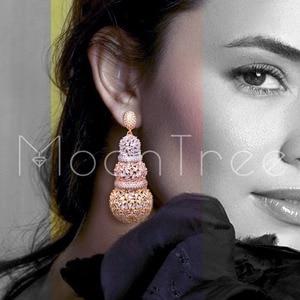 Image 2 - MoonTree 68mm דלעת יוקרה עיצוב מלא מיקרו מעוקב Zirconia אפריקאי אירוסין מסיבת שמלת עגיל תכשיטים לנשים