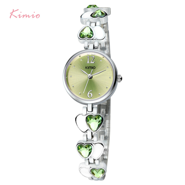 Kimio Brand relojes con diamantes Love Heart Gem Thin Strap Wrist Watches Analog