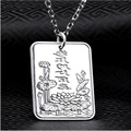 925 Sterling Silver Pendant Necklace men and Women jewelry pendant S999 fine big square pendant Heart Sutra Mantra Sports HY161