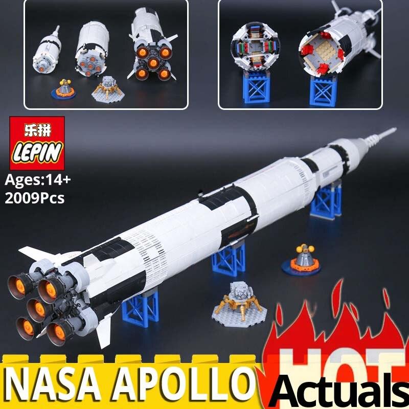 Lepin 37003 Creative Série Le Apollo Saturn V Lancement Véhicule Modèle Éducatifs Blocs de Construction Briques Jouet legolys 21309 Fusée