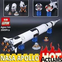 Лепин 37003 творческий серии Apollo Сатурн V Старт модель автомобиля образовательные строительные блоки Кирпич Игрушки legolys 21309 Rocket