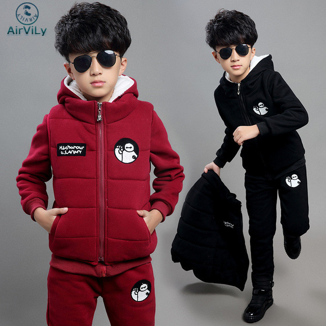 Children Boy Girl Winter Clothes Suit Kids Casual Sports Warm Plus thick Velvet three-piece Child Suits Children's Clothing