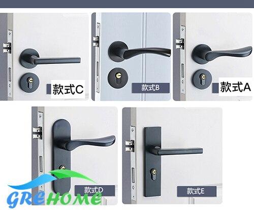 Black solid space aluminum door handle lock bedroom minimalist interior door lock hardware security locks with body keys