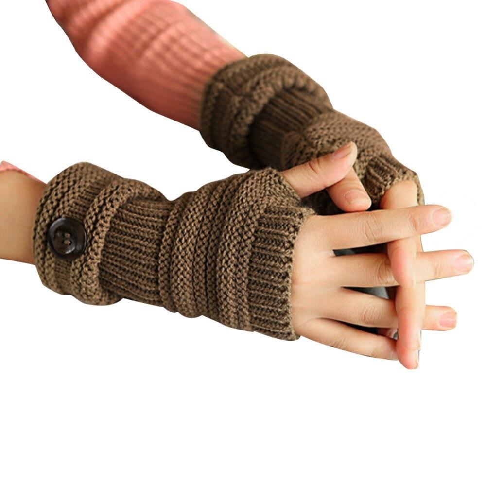 Botón elegante de punto manopla medio dedo mujer guantes para mujer ...