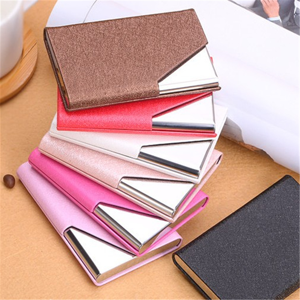 Fashion Business ID Credit Card Holder For Women Men Metal Aluminum Card Case PU Leather stylish alligator pattern portable pu leather aluminum alloy magnet business card case brown