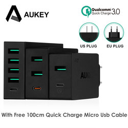 AUKEY Mobile Phone Charger Type C Quick Charge 3.0 USB C Desktop Charge Universal Smart Wall Charger For Galaxy S8 Xiaomi iPhone