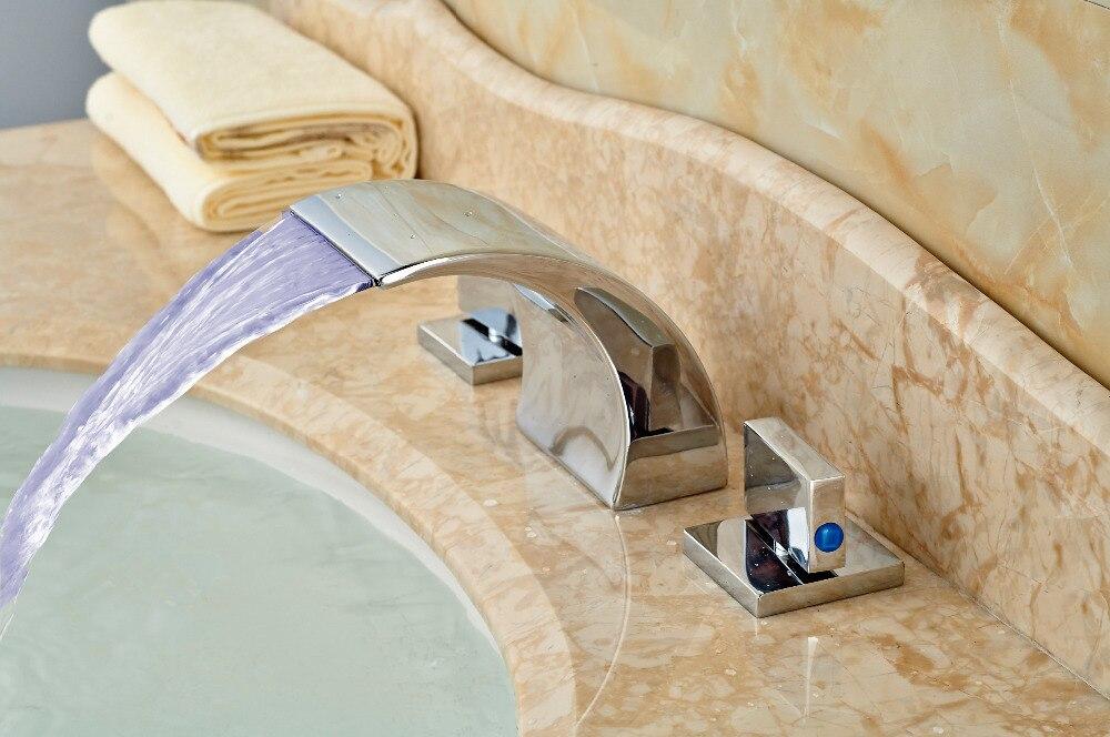 ФОТО 3 Colors Roman Waterfall Chrome Brass Bathroom Faucet Double Handles Mixer Tap