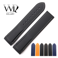 Rolamy Watch Band 20 22mm Rubber Silicone Strap Belt For Planet Ocean 45 42mm Watchband Replacement Wholesale